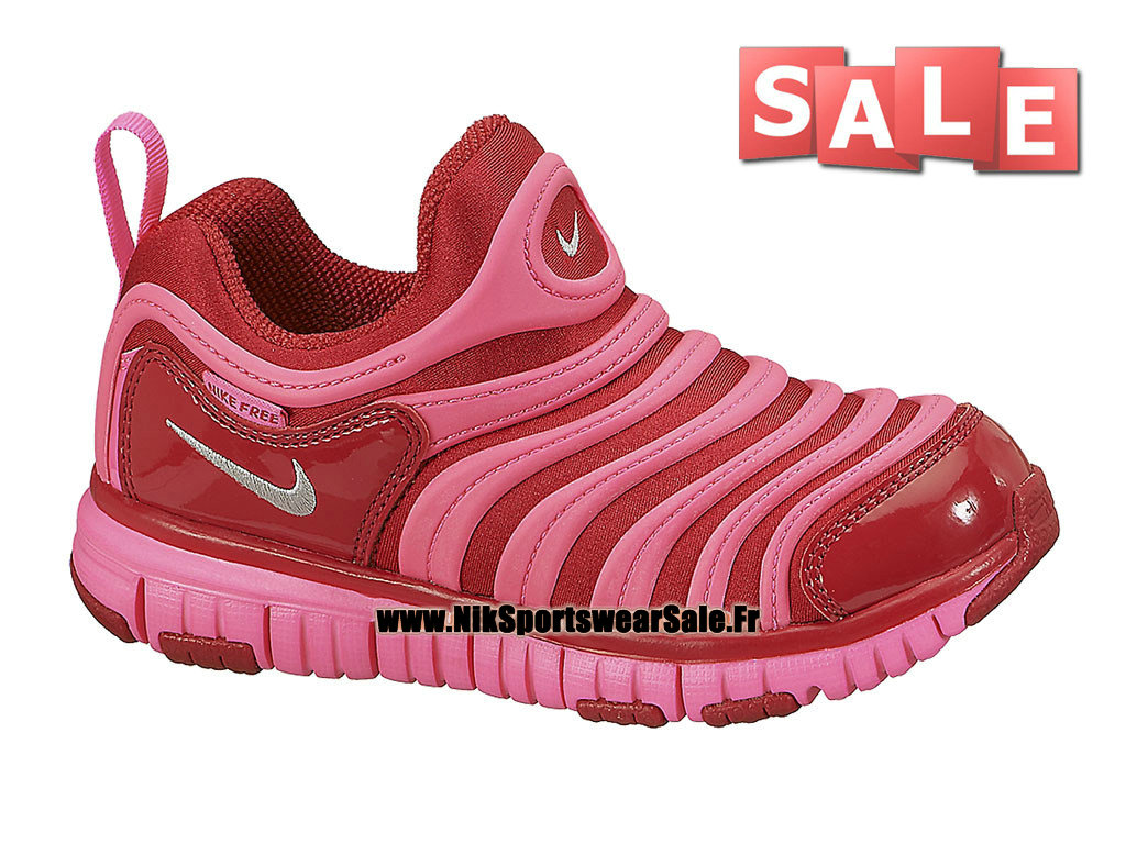 Nike Dynamo Free PS - Chaussures Nike Pas Cher Pour Petit Fille Rouge sportif/Rose framboise 343738-608