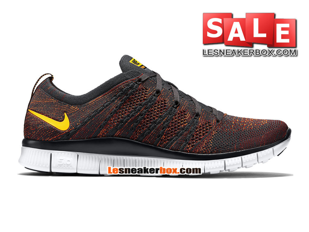 Nike Free Flyknit NSW 5.0 - Chaussure de Nike Sportswear Pas Cher Pour Homme Anthracite/Rouge sportif/Orange total/Orange laser 599459-008