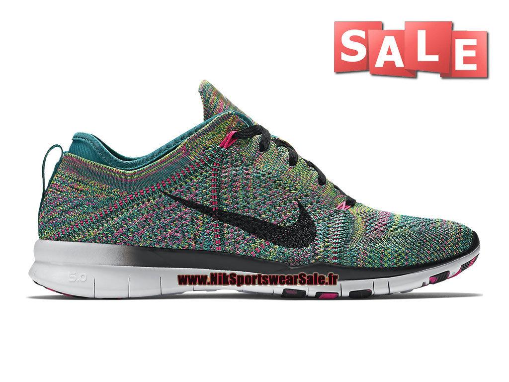 Nike Free TR 5.0 Flyknit GS Chaussure de Training Nike Pas Cher Pour FemmeEnfant Émeraude rayonnantRose framboiseNoir 718785 300 Officiel de
