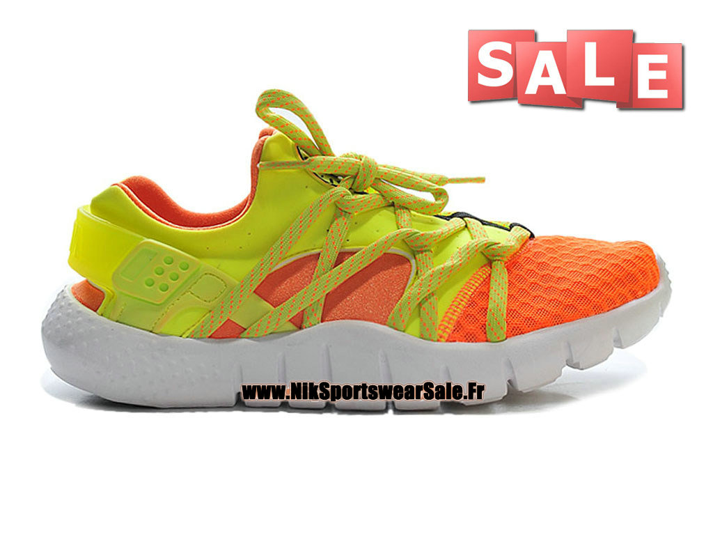 Nike Huarache NM (Natural Motion) iD - Nike Officiel Pas Cher Chaussures Pour Homme Jaune/Orange/Blanc 705159-iD03