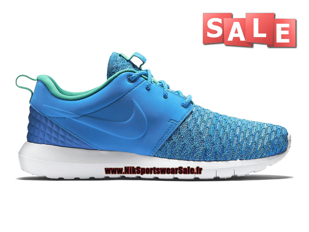 Nike Roshe One Flyknit Premium - Chaussure de Sports Nike Pas Cher Pour Homme Bleu photo/Turquoise atomique/Hyper turquoise/Soar 746825-400