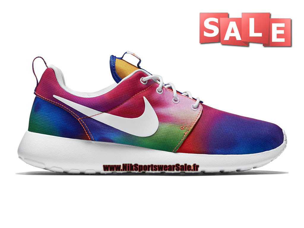 Nike Roshe One Print - Chaussure de Nike Sportswear Pas Cher Pour Homme Violet basket-ball/Blanc/Cramoisi Total 655206-518