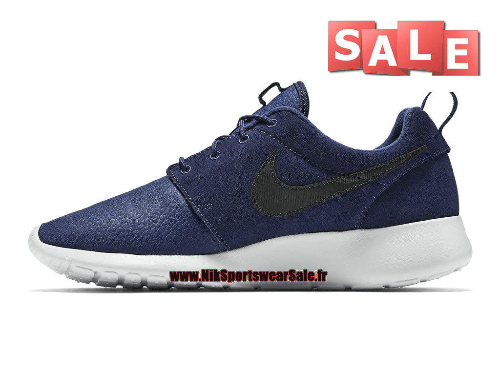 Nike Roshe OneRun Suede Chaussures Nike Sportswear Pas Cher Pour Homme Bleu nuit marineNoirPlatine pur 685280 400 Officiel de Chaussure Nike 2017