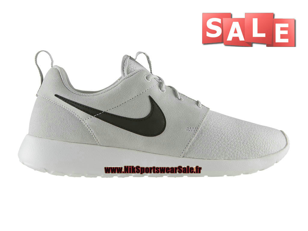 Nike Roshe One/Run Suede - Chaussures Nike Sportswear Pas Cher Pour Homme Gris cendré clair/Noir/Blanc immaculé 685280-017