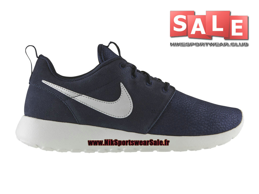Nike Roshe One/Run Suede - Chaussures Nike Sportswear Pas Cher Pour Homme Obsidienne/Blanc immaculé/Argent métallique 685280-417