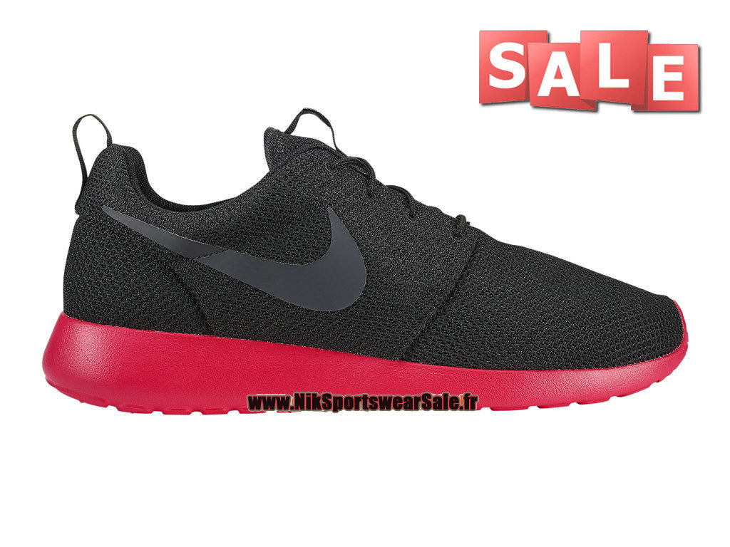 Nike Roshe Run/One - Chaussure de Nike Sportswear Pas Cher Pour Homme Noir/Anthracite-Rouge Sirène 511881-016
