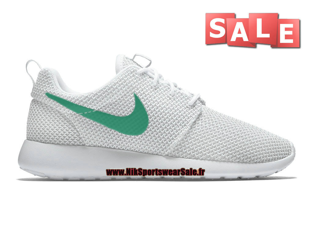 Nike Roshe Run/One iD - Chaussure de Nike Sportswear Pas Cher Pour Homme Blanc/Vert 511881-070iD