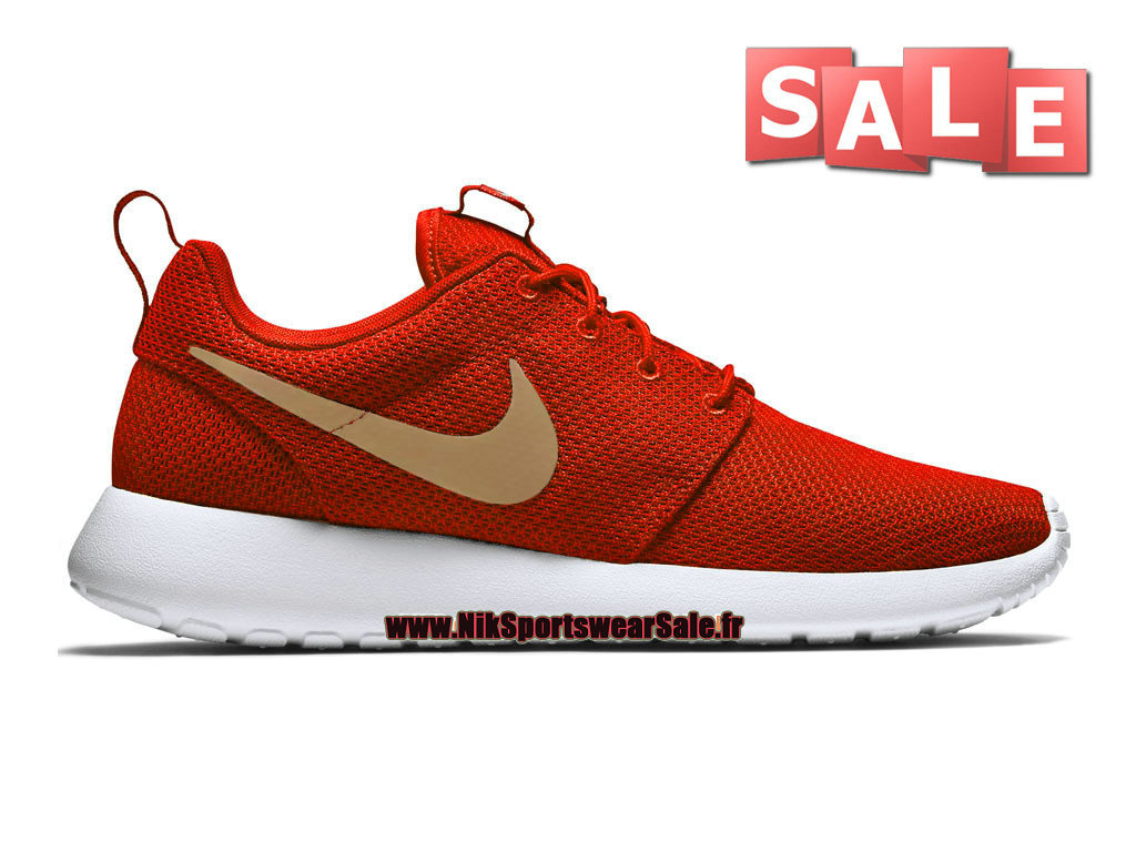 Nike Roshe Run/One PE - Chaussure de Nike Sportswear Pas Cher Pour Homme Rouge sportif/Or métallique/Blanc 511881-602iD