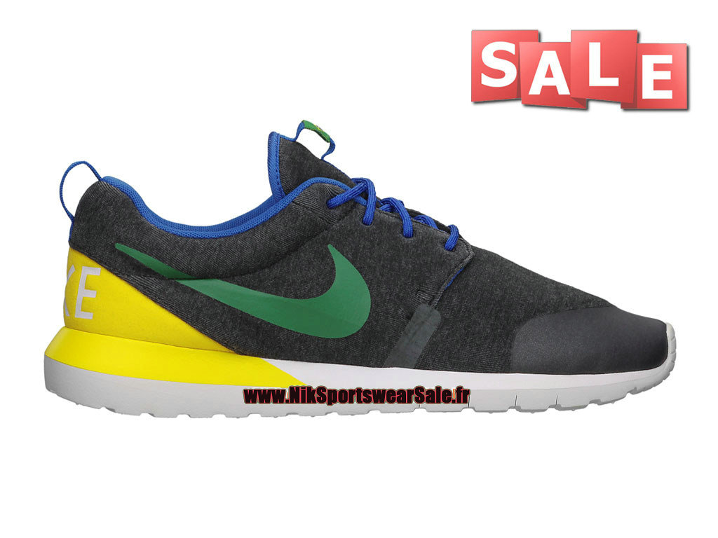 "Nike RosheRun NM W SP ""Brazil"" (World Cup Pack) - Chaussures Nike Sportswear Pas Cher Pour Homme Chiné Noir/Vert pin/Jaune tour 652804-037"