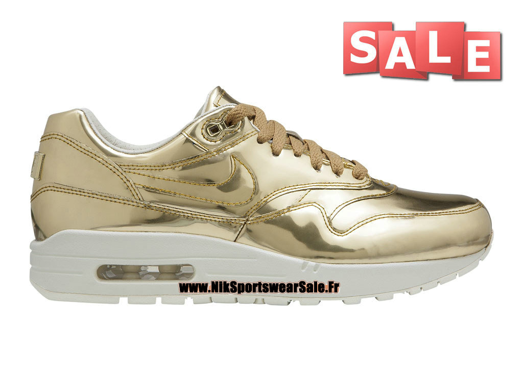 "Nike Wmns Air Max 1/87 SP ""Liquid Metal Gold"" - Chaussure de Sports Nike Pas Cher Pour Femme/Enfant Or métallique/Light Bone-Or métallique 616170-700"