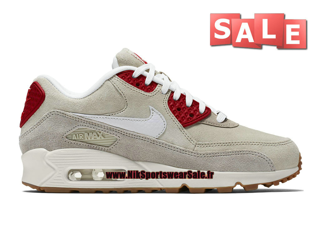 "Nike Wmns Air Max 90 City Collection 2015 ""New York"" - Chaussures Nike Sportswear Pas Cher Femme/Enfant Beige craie chiné/Beige craie/Rouge sportif/Blanc immaculé 813150-200"