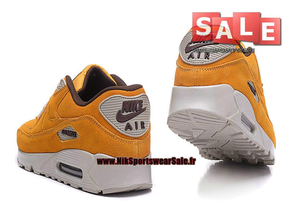 photos officielles b50c3 783b7 Nike Wmns Air Max 90 Premium Suede - Chaussure Nike Sportswear Pas Cher  Pour Femme/Enfant Orange total/Gris loup/Gomme marron 818598-100G-Officiel  de ...
