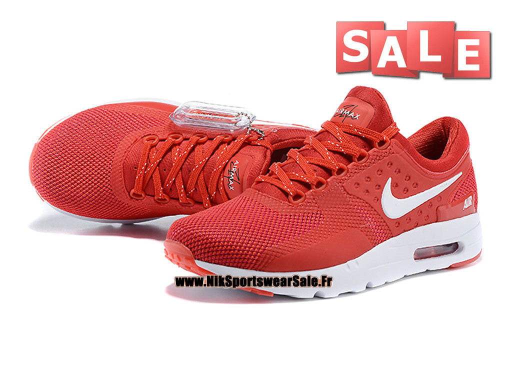 Nike Wmns Air Max Zero - Chaussure Mixte Nike Sportswear Pas Cher (Taille Femme/Fille) Rouge/Blanc 789695-008iD-G