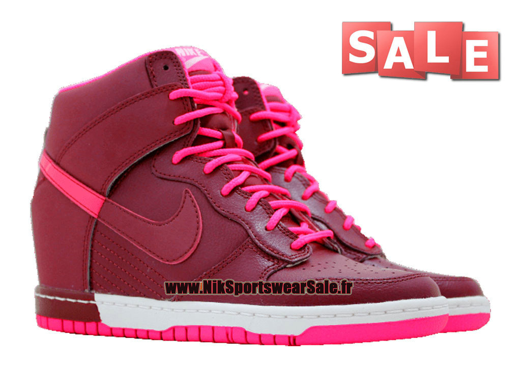 buy online 671f5 f9bf6 ... Nike Wmns Dunk Sky Hi - Chaussure Nike Montante Pas Cher Pour Femme  Fille Grenat ...
