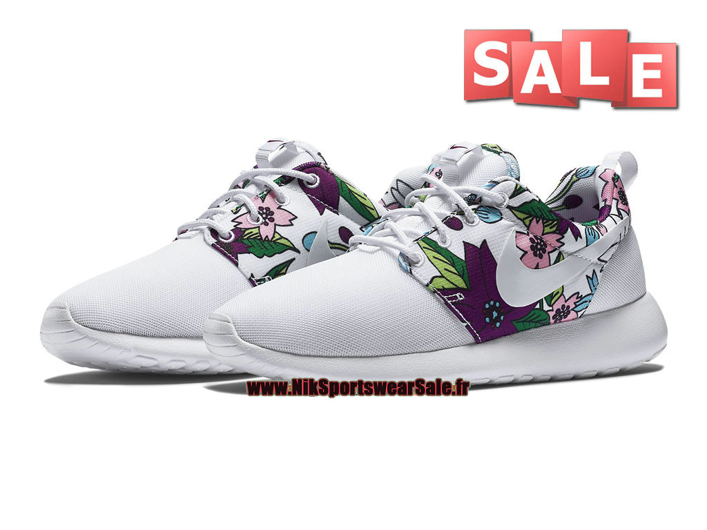 on sale 39dec 664f7 ... Nike Wmns Roshe One Print - Chaussures Nike Sportswear Pas Cher Pour  Femme Fille Blanc ...