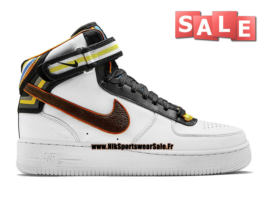 Nike X Riccardo Tisci Air Force 1 Mid RT - Chaussure Nike Mi-Montante Pas Cher Pour Homme Blanc/Brun baroque 677130-120