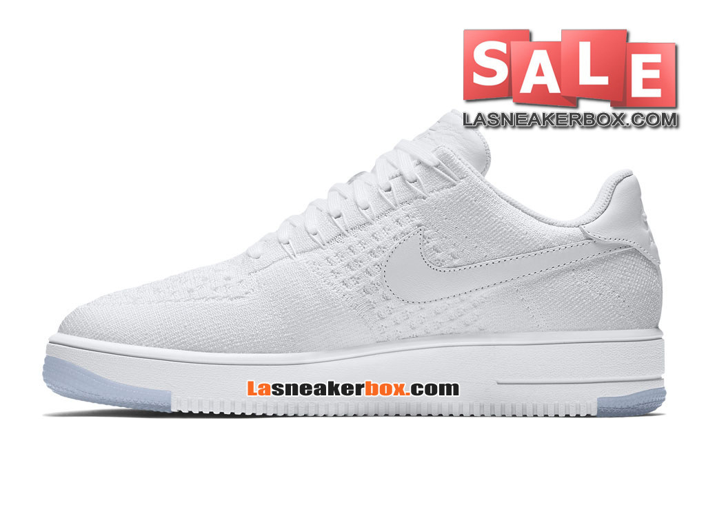 super popular fae66 192c7 ... NikeLab Air Force 1 Low Ultra Flyknit - Chaussure Nike Sportswear Pas  Cher Pour Homme Blanc ...
