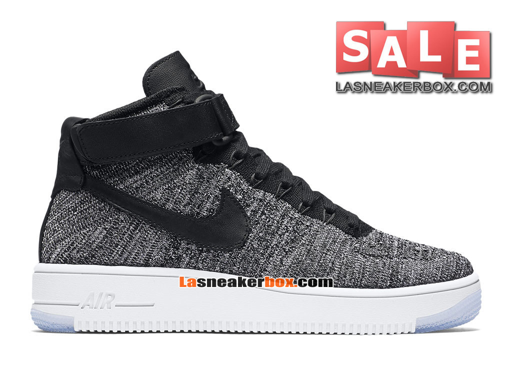 NikeLab Air Force 1 Low Ultra Flyknit - Chaussure Nike Sportswear Pas Cher Pour Homme Noir/Blanc/Gris froid/Noir 818018-001H