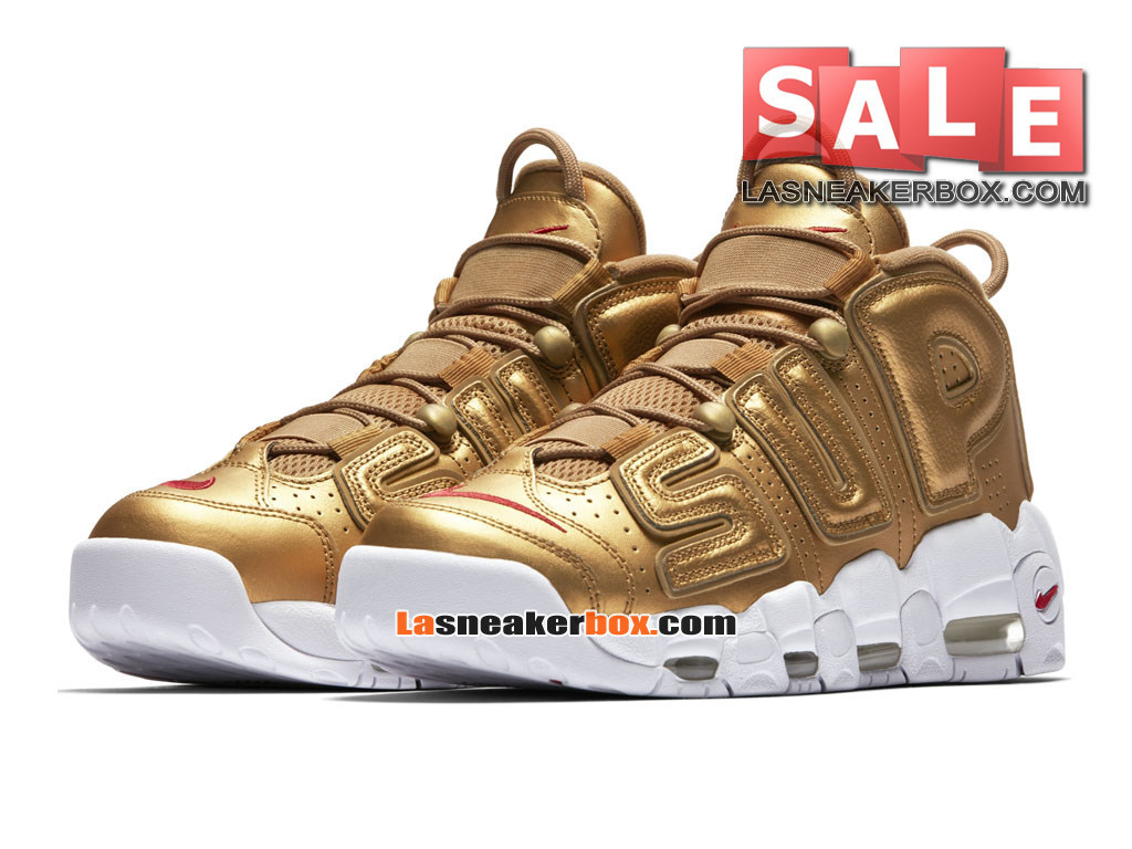 best authentic ca7fd 12ebf ... Supreme x NikeLab Air More Uptempo SP - Chaussures Nike LifeStyle Pas  Cher Pour Homme Or ...