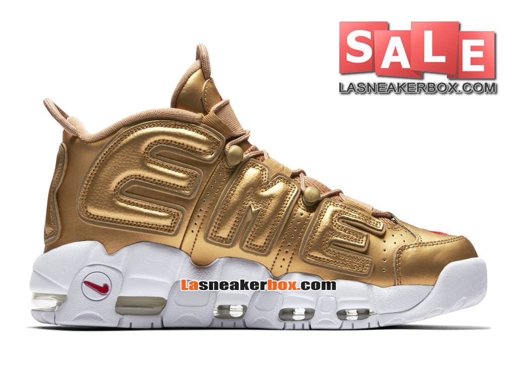 efdaae8abc012 Supreme x NikeLab Air More Uptempo SP - Chaussures Nike LifeStyle Pas Cher  Pour Homme Or .