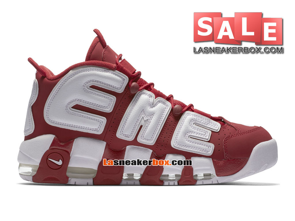 Supreme x NikeLab Air More Uptempo SP - Chaussures Nike LifeStyle Pas Cher Pour Homme Rouge intense/Blanc 902290-600